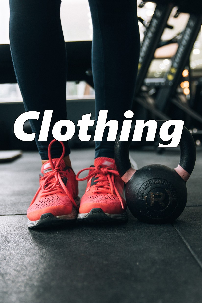 shoes and pants to represent workout clothes